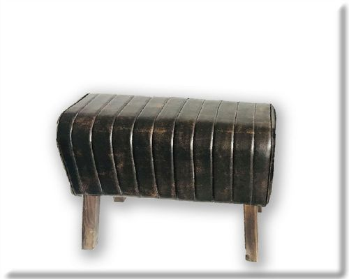 48cm Rolled Dark Faux Leather Gym Pommel Horse Stools